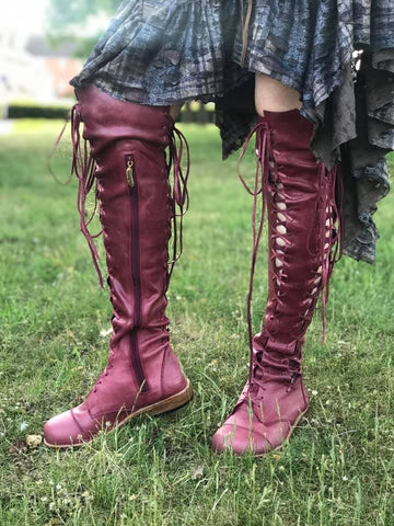 'Clockwork Fairy' Knee High Boots in Oxblood with Tan Soles