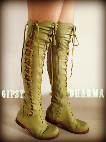 'Clockwork Fairy' Knee High Boots in Spring Green