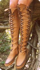 Tan Knee High Leather Boots With Madagascar Lacing for Pre Order
