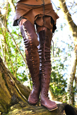 Brown Over Knee High Leather Boots