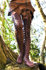 Gipsy Dharma Leather boots for women in chocolate brown leather over the knee height