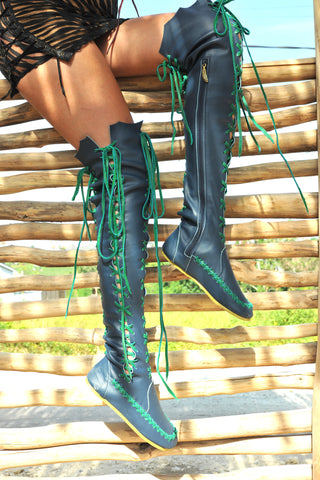 'Mermaid's Tail' Knee High Leather Boots