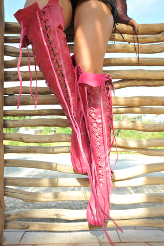 Pink Knee High Leather Boots
