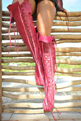 Fuschia Knee High Leather Boots
