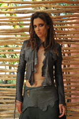 Black Leather Bolero Jacket for Pre Order