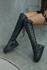 Gothic Black Leather Knee High Platform Boots for Pre Order