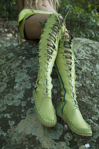 Forest Fairy Knee High Leather Boots