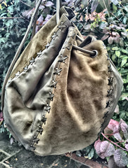 Olive String Hand Bag and Rucksack