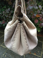'With cream on top' Leather String Hand Bag and Rucksack