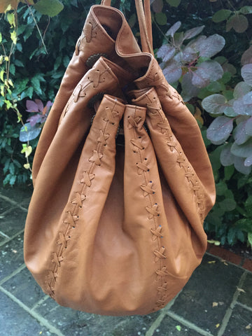 Tan Leather String Hand Bag and Rucksack