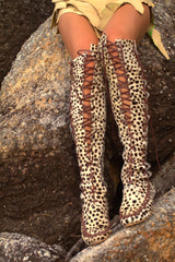 Knee High Brown Leopard Leather Boots