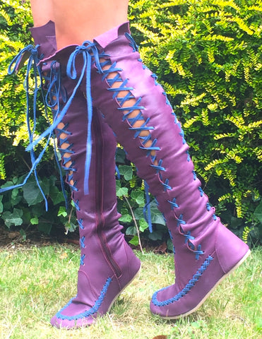 Plum knee high boots with cobalt laces