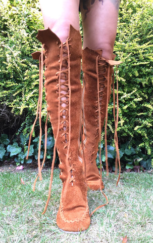 Tan Knee High Suede Boots with Tan Laces