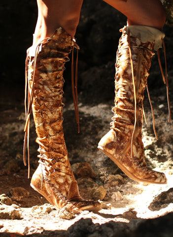 Galaxy Dream Leather Knee High Boots in Tan with Tan laces