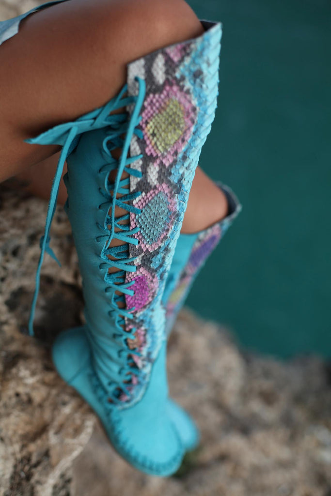71fcd9561458c Leather Boots – Turquoise Python Knee High Leather Boots   Gipsy Dh...