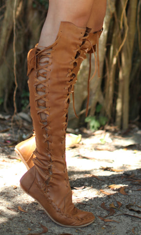 Tan Knee High Leather Boots with Tan Laces