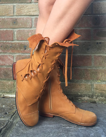 'Clockwork Fairy' Ankle Boots in Tan