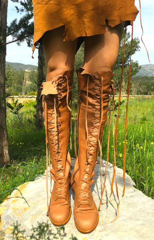 'Clockwork Fairy' Knee High Boots in Tan
