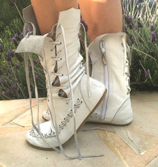 White Leather Ankle Boots for Pre Order
