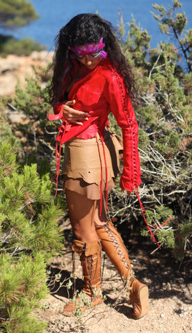 Red Leather Bolero Jacket