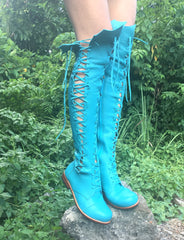 'Clockwork Fairy' Knee High Boots in Turquoise