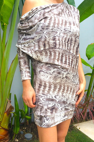 Brown Snake Print dress