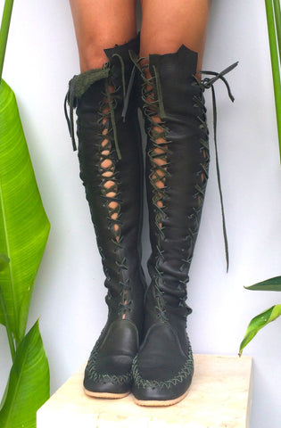 Elven Dark Forest Green Leather Knee High Boots