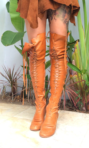 Tan Over The Knee High Leather Boots With Tan Lacing for Pre Order