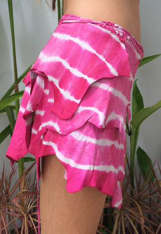 Pink Tie Dye Leather Belt Skirt