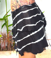 Zebra tie dye leather skirt