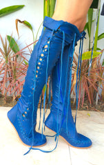 Cobalt blue knee high leather boots