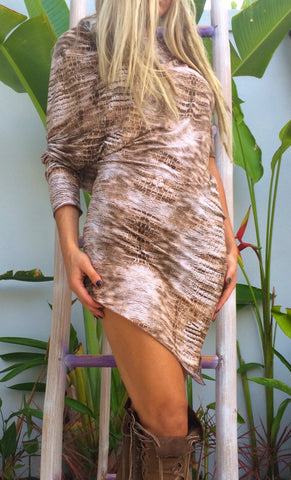 Light Brown Snake Print Dress