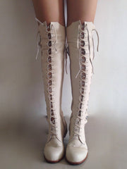 Clockwork Fairy  Knee High Boots in White Leather