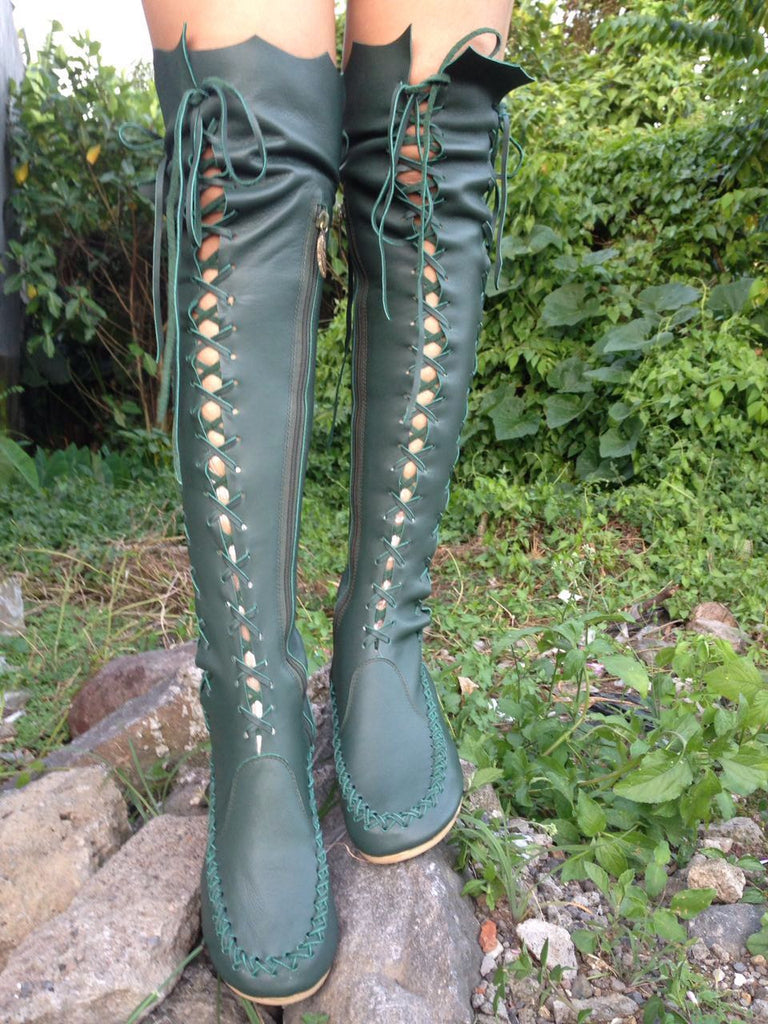 b64ee4d1c3b ... Elven Dark Forest Green Leather Knee High Boots ...