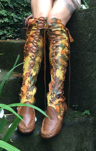Tan Galaxy Tie Dye Knee High Leather Boots