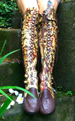Dark Brown Galaxy Tie Dye Knee High Leather Boots