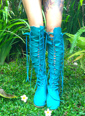Turquoise Leather Knee High Boots