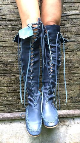 'Indigo Dream' Leather Knee High Boots