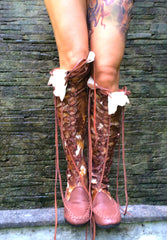 Chocolate Galaxy Tie Dye Knee High Leather Boots