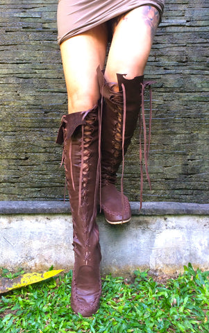 'Hot chocolate' Gipsy Dharma Leather Knee High Boots for Pre Order