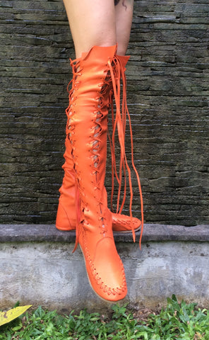 Orange Leather Knee High Boots