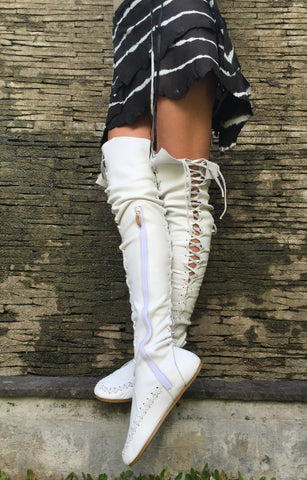 Isla Blanca Over Knee High Leather Boots