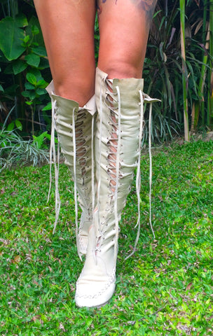 'With Cream On Top' Leather Knee High Boots