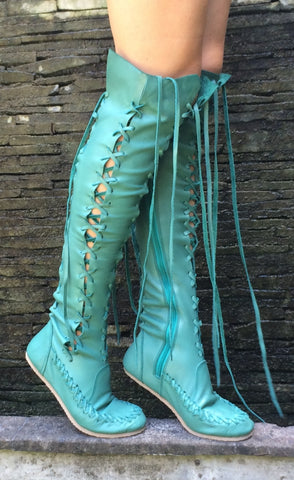 Formentera Aqua Knee High Leather Boots