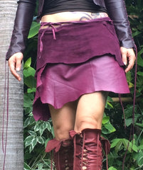 plum leather skirt