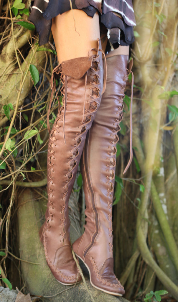 34f33148382 ... Gipsy Dharma Leather boots for women in chocolate brown leather over  the knee height ...