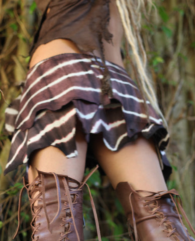 Brown Tie-Dye Leather Belt Skirt