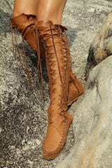Tan Knee High Leather Boots with chocolate laces for Pre Order