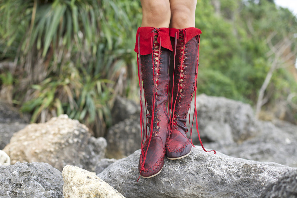 8fc29d82962 Leather Boots – Antique Red Knee High Leather Boots