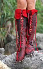 Antique Red Leather Boots For Women